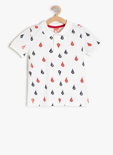 Koton Koton Ekru Desenli T-Shirt Ekru